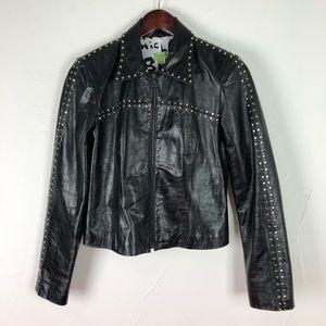 John Carlisle Black Leather Jacket Sz S